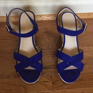 Royal Blue and Woven Wedges